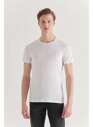 Avva Erkek  Bisiklet Yaka Tişört A11Y1019 Beyaz